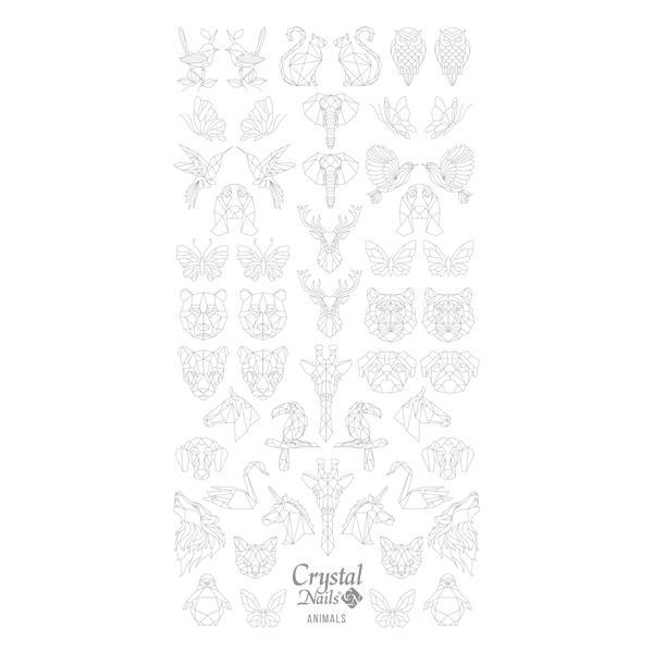 Színező alap matrica - Animals Ezüst