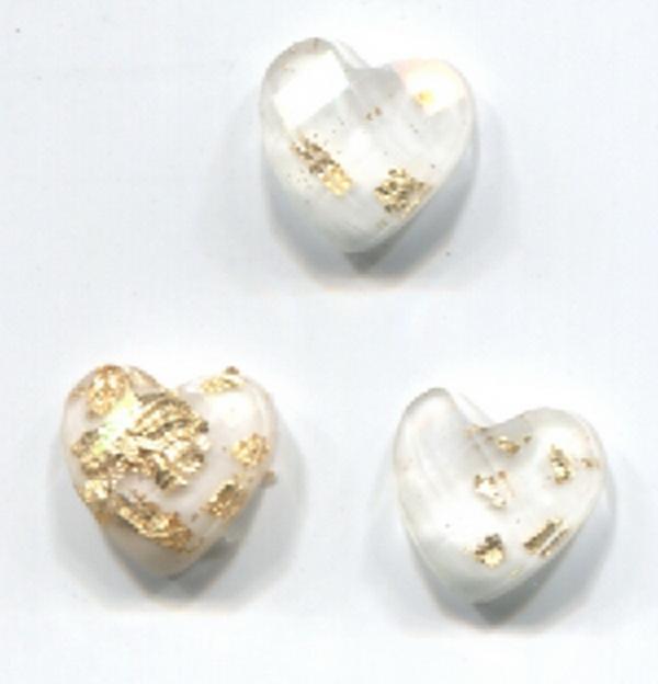 Nagy strassz szív, intarziás (15) - fehér, aranyfóliával