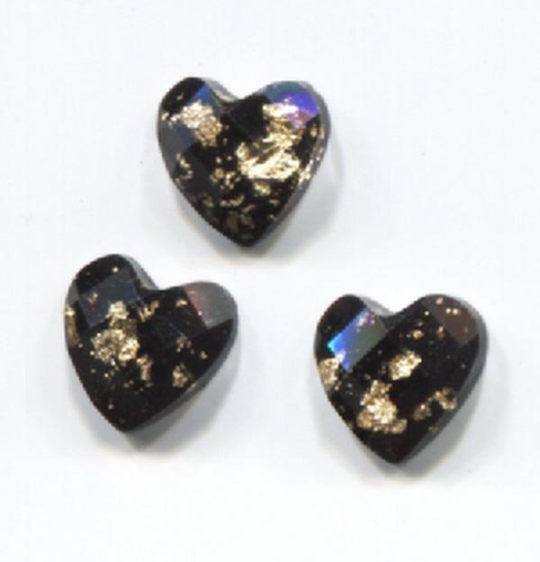Nagy strassz szív, intarziás (24) - fekete, aranyfóliával