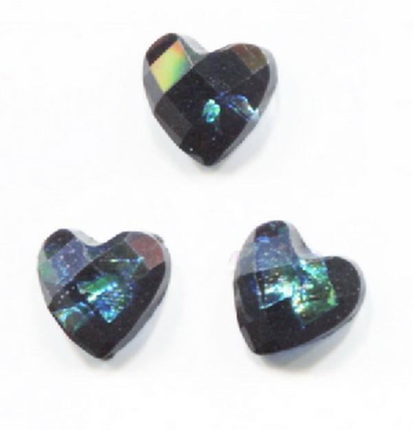 Nagy strassz szív, intarziás (23) - fekete, szivárványos fóliával