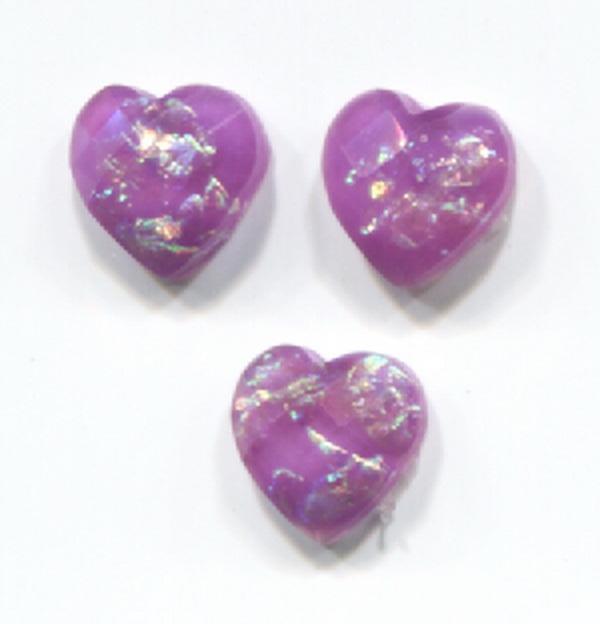 Nagy strassz szív, intarziás (18) - lila, szivárványos fóliával