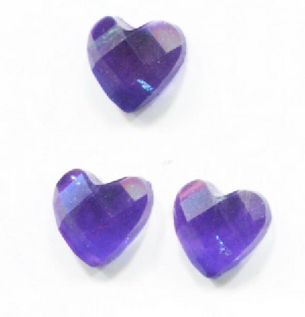 Nagy strassz szív, intarziás (19) - sötétlila, szivárványos fóliával