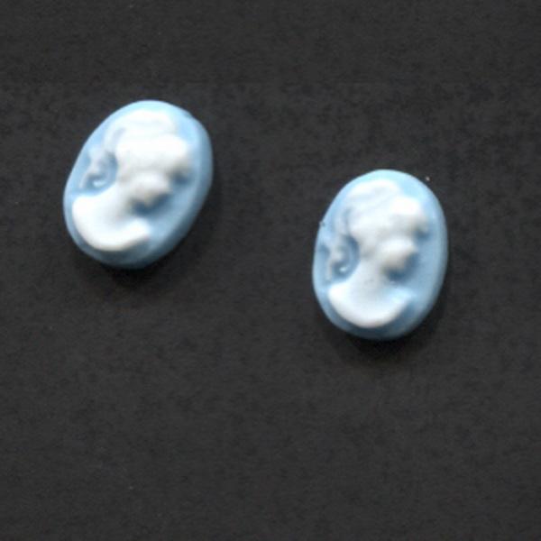 Kámea - női fej kék