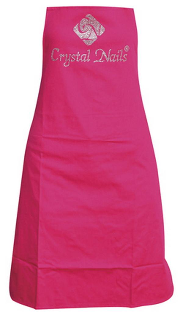 Crystal Nails lonc kötény rózsaszín - strasszköves logóval