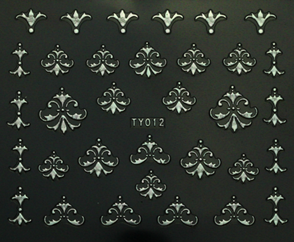 CN köröm matrica (TY012 - ezüst)