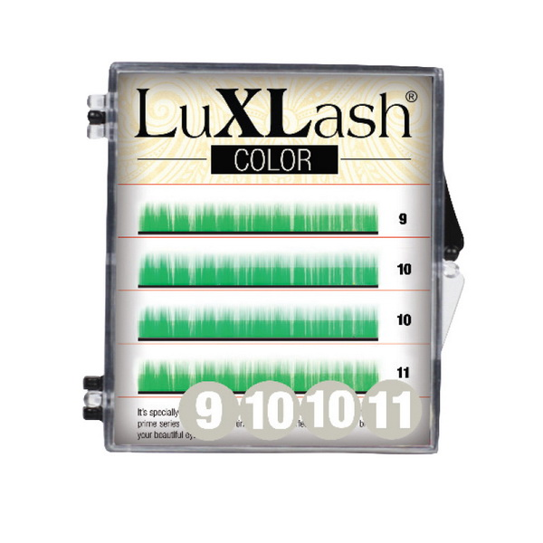LuXLash Color Lash - Green D/0,10 (9,10,11)