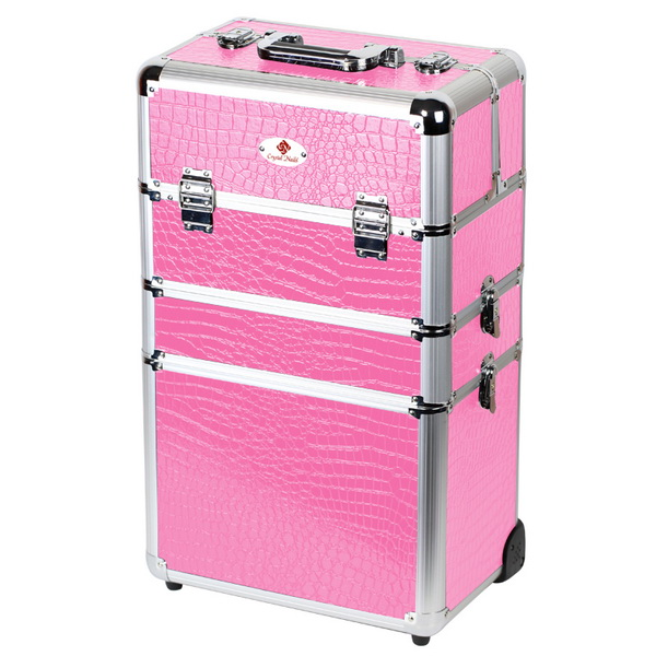 Óriás fémbőrönd Crystal Nails logóval - Pink