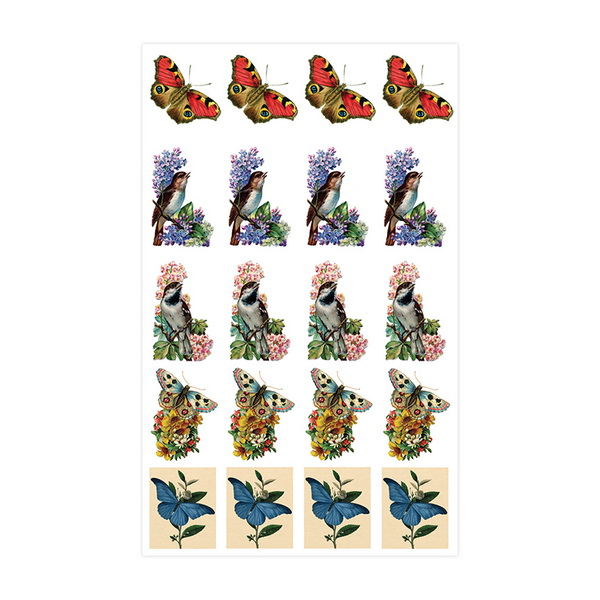 NailArt Baroque Stickers - Birds & Butterflies