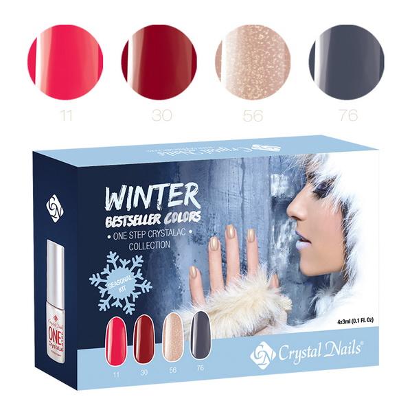 2015 Bestseller Colors Winter ONE STEP CrystaLac (Gél Lakk) készlet - 4x3ml