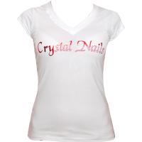 Crystal Nails Strassz és tükörfóliás divatpóló, fehér XL