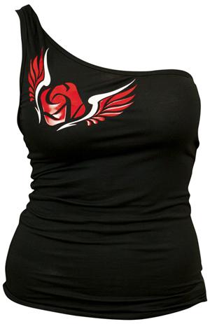Féloldalas póló, angyalszárnyas, fekete - XL