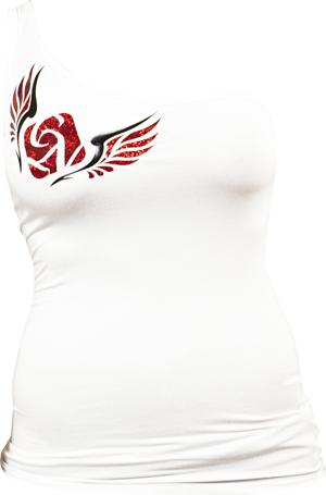 Féloldalas póló, angyalszárnyas, fehér - XL