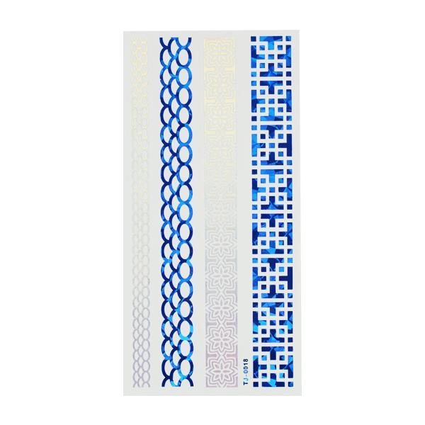 CN Tetoválás matrica - TJ-0018 (kék-ezüst)