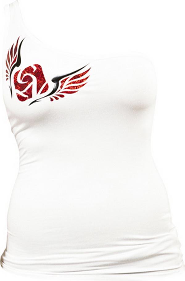 Féloldalas póló, angyalszárnyas, fehér - M