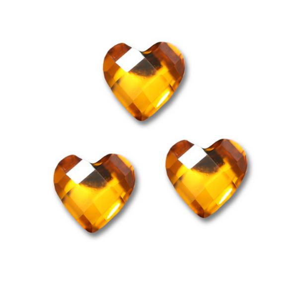 Nagy strassz szív, intarziás - Sárga (31)