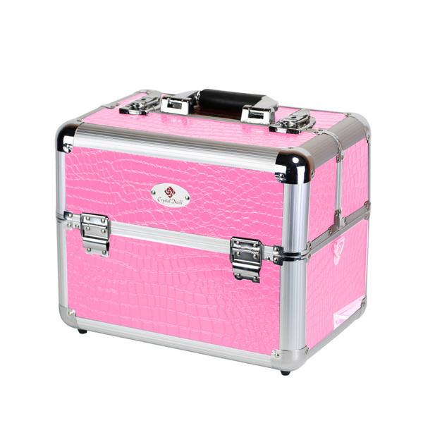 Trendi nagy fémtáska Crystal Nails logóval - Pink