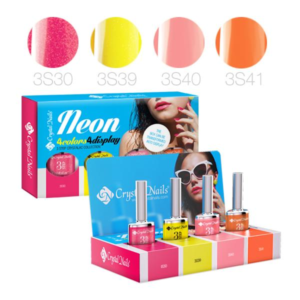 NEON 4Colors4Display 3 STEP CrystaLac készlet - 4x4ml